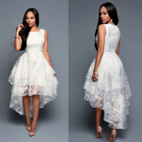 Hot sale fashion sexy  layered Long after the short three layer vest skirt dress before dress