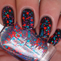 "Glitter nail polish - ""Bright Young Things"" blue, orange, teal glitter nail polish - new 12ml bottle"
