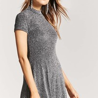 Metallic Mini Skater Dress