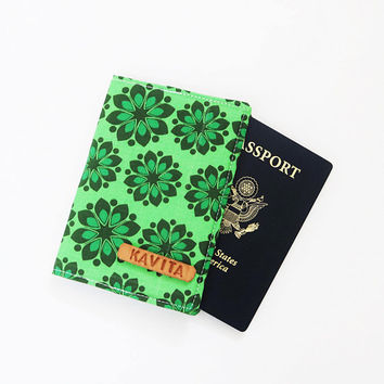 Coworkers Gift Passport Cover Green Christmas Gift under 10, Personalized Gift - SKPC19