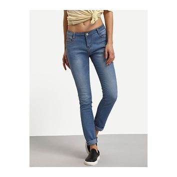 Mid-Rise Medium Wash Skinny Jeans