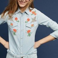 Mother Embroidered Rose Buttondown