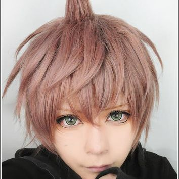 Naegi Makoto Wig Danganronpa Dangan Ronpa Heat Resistent Synthetic Hair Short Cosplay Wigs Peruca Halloween Party Hair