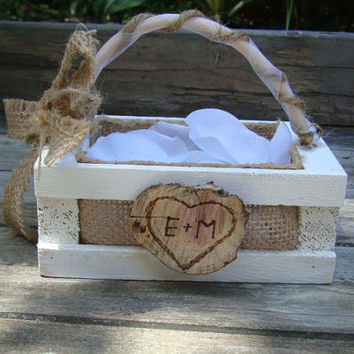 Small Rustic Flower Girl Basket - Personalized Flower Girl Basket - Burlap - Wood Burned Initials - Woodland Wedding - Outdoor Wedding