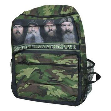 Duck Dynasty Happy Camouflage Camo Backpack A&E Reality TV Series Book Bag Black