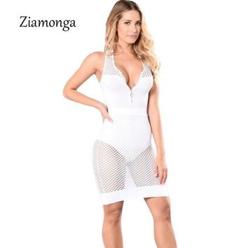 Ziamonga Women V Neck Evening Club Wear Net Mesh Bodycon Bandage Dress Sleeveless Sexy Party Dresses See Through Women Dress