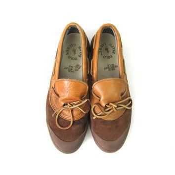 POLO Ralph Lauren Shoes Brown Leather Vintage Deck Shoes Slipper