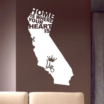 Home Is Where Your Heart Is California LA Los Angeles Design Decal Sticker Wall Vinyl Decor Art