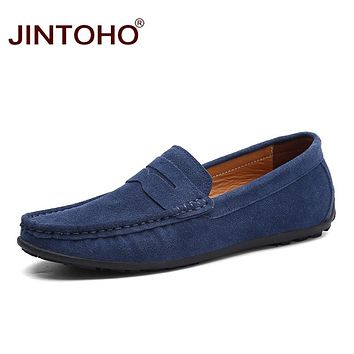 Fashion Leather&Suede Men Casual Shoes Men Boat Shoes Slip On Leather Loafers Summer Men Flat Shoes