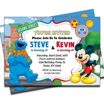 Cookie Monster and Mickey Mouse - Double Birthday Invitations
