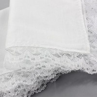 1pcs Personalized white lace handkerchief, woman wedding gifts, wedding decoration cloth napkins 25*25cm