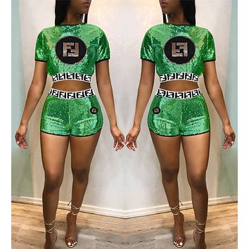 FENDI Fashionable Women Casual Sequin Embroidery Short Sleeve Top Shorts Set Two-Piece Green