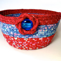 Coiled Rope Basket , Large Fabric Bowl , Farmhouse Patriotic Decor , Red White Blue , Independence Day , Fiber Art Organizer , Clothesline