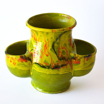 1960s Mid Century Modern Drip Glaze Planter Green Orange Yellow