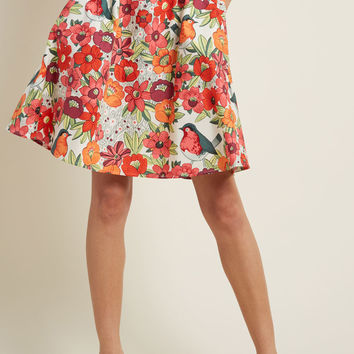 Lively Vibe Cotton A-Line Skirt in Aviary