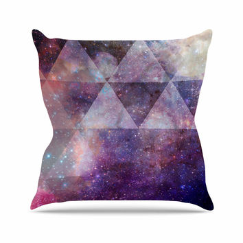 "Suzanne Carter ""Geometric stars"" Purple Black Outdoor Throw Pillow"
