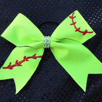 Softball Cheer Bow Handpainted Ponytail Holder