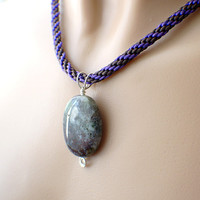 Purple and brown oval gemstone kumihimo braided necklace sterling silver