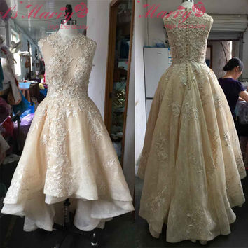 Elegant Real Photos Robe De Cocktail Short Front Long Back Cocktail Dresses 2017 Appliques Homecoming Party Dress Vestido Curto