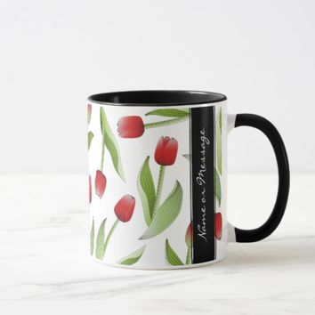 Red Tulip Love Floral Patten Elegant Modern Custom Mug