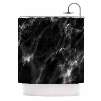 "Chelsea Victoria ""Black Marble"" Modern White Shower Curtain"