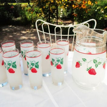 Strawberry Glasses and Pitcher Set Vintage 1980s Frosted glass with Strawberries 9 piece beverage barware set, lemonade set