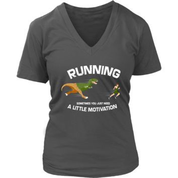 Funny Running Man and T-Rex Graphic Shirt - Fitness Tee - Womens Plus Size Up To 4X