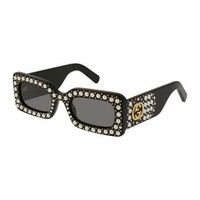 Gucci Chunky Studded Square Sunglasses, Black