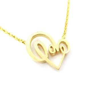 Cursive Love Typography Forming A Heart Shaped Charm Necklace in Gold | DOTOLY