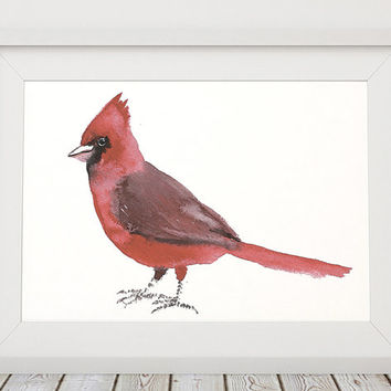 Cute nursery art Northern cardinal print Bird watercolor ACW133