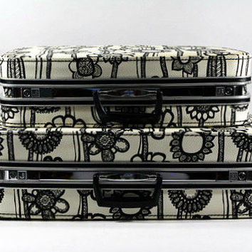 Vintage Samsonite Suitcase Black And White Flower Fashionaire