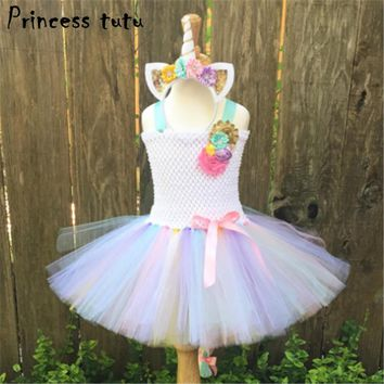 1-12 Years Fancy Baby Girl Tutu Dress Little Pony Dress Unicorn Headband Christmas Halloween Costume Girls Party Dresses k154