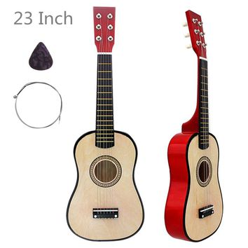 23 Inch Basswood Acoustic Guitar Wood Color 6 String Musical Instrument with Guitar Pick and String Children Gifts