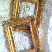 Set of 2 - Vintage Ornate Open Goldtone Frames/Light Wood Frames Wall Hanging/Victorian Style/Hollywood Regency
