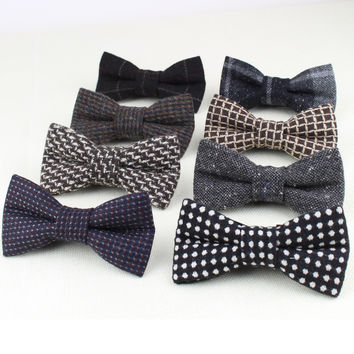Superior Classical Formal 100% Wool Bow Tie Gravata Colors Houndstooth Pattern Necktie Mens Luxury Tie Tweed Bowtie No.21-28