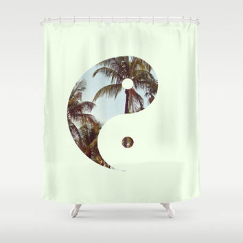 Yin Yang Palm Trees Shower Curtain by productoslocos | Society6