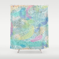 Map Shower Curtain - Map Collage Watercolor Cool Winds - Home Decor - Bathroom - fabric, maps, travel, guy's bath trade winds