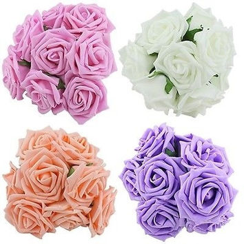 10Pcs Artificial Sponge Rose Flowers For Bride Wedding Bouquet Home Decoration Decor