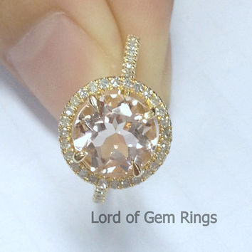 8mm/2.35ct Round VS Morganite Engagement Ring in 14K Yellow Gold,.32ctw Diamond Halo Morganite Ring, 14k Rose Gold White Gold Available