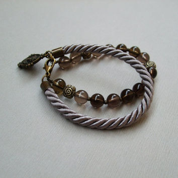 Antique brass multilayered smoky quartz genuine  gemstone cameo pendant rope adjustable bracelet