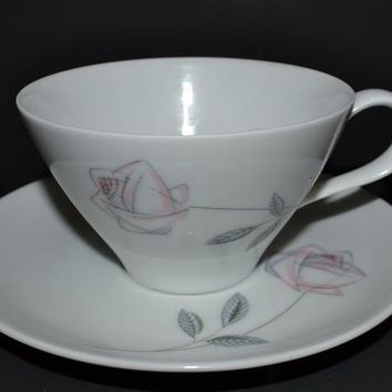 Noritake Roselin Pattern Cup and Saucer - Stylized Rose - 7 Sets Available Buy 1 or More!
