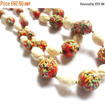 Hobe Necklace with Earrings Set, Art Glass, Red with Cream, Retro Vintage Jewelry SPRING SALE