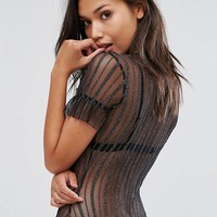 PrettyLittleThing Mesh Frill Body at asos.com