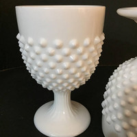 Hobnail Milk Glass Goblets, Pair of Fenton Hobnail Milk Glass Oversized Goblets, Planters, Centerpieces