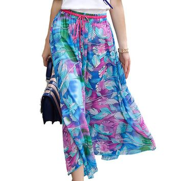 2017 Summer Bohemia Style Flower Printed Skirt Shivering Sandy Breast Chiffon Wrapped Half-body Skirt