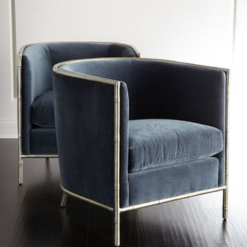 Bernhardt Luella Blue Velvet Chair