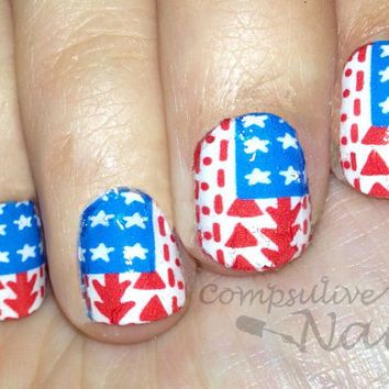Nail polish strips. TWO SETS of Nail decal wraps. Tribal print American flag. (great for fourth of July)