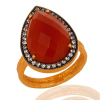 Handmade Genuine Red Onyx Gemstone Gold Vermeil 925 Sterling Silver Ring With CZ