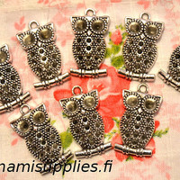 Miniature Owl Charms - Antique Silver Color Bird Pendants 10pcs - 35x18.5 mm - Nickel Free