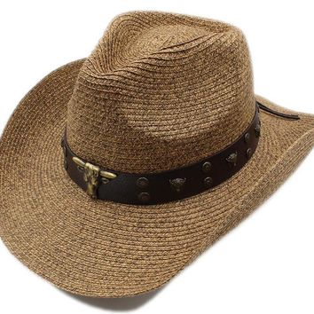 3D Metal Bull_ Adjustable Leather Band_ Chin Strap_Vintage Travel Straw Cowboy Hat